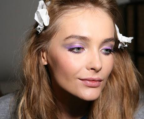 Model Wearing Purple Eyeshadow