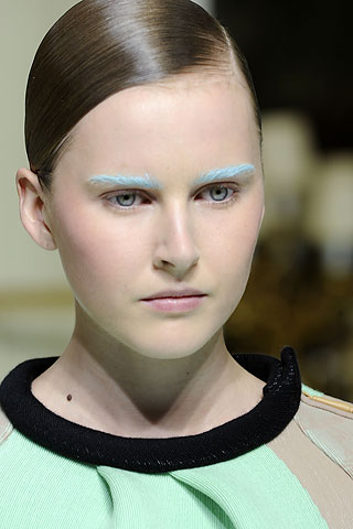 blue eyebrows balenciaga paris fashion week